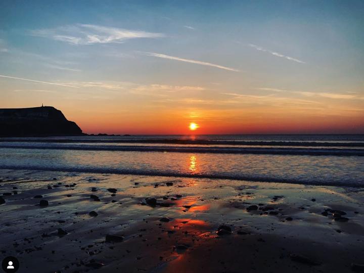 Borth beach at sunset
